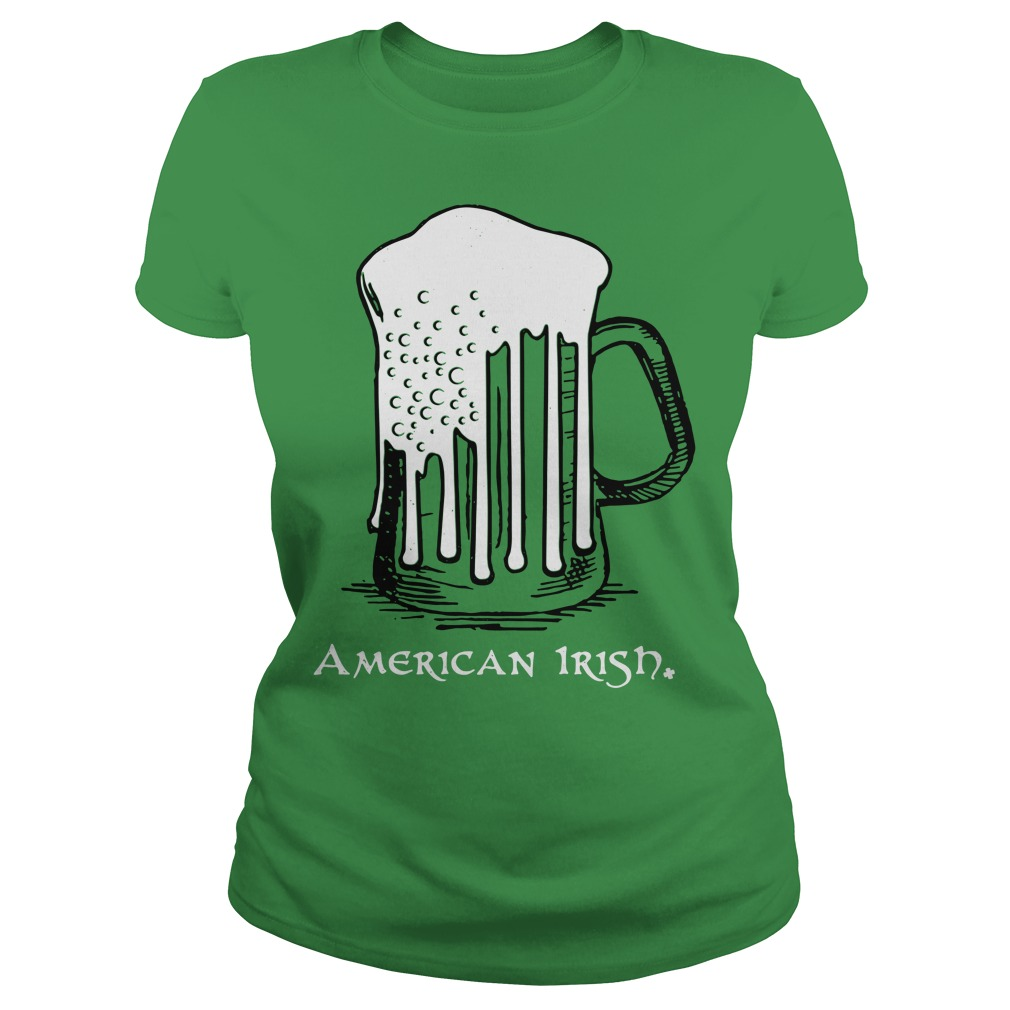 St Patrick's Day beer flag American Irish Ladies tee