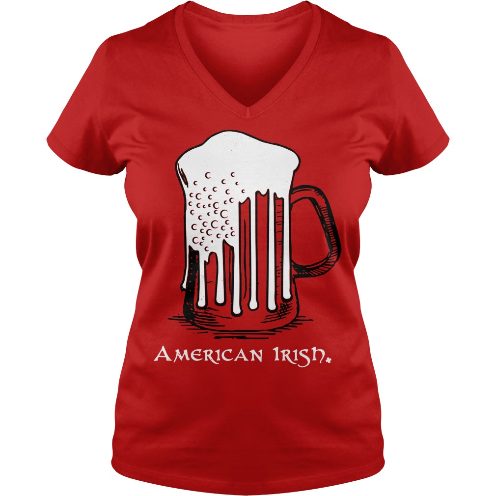 St Patrick's Day beer flag American Irish V-neck T-shirt