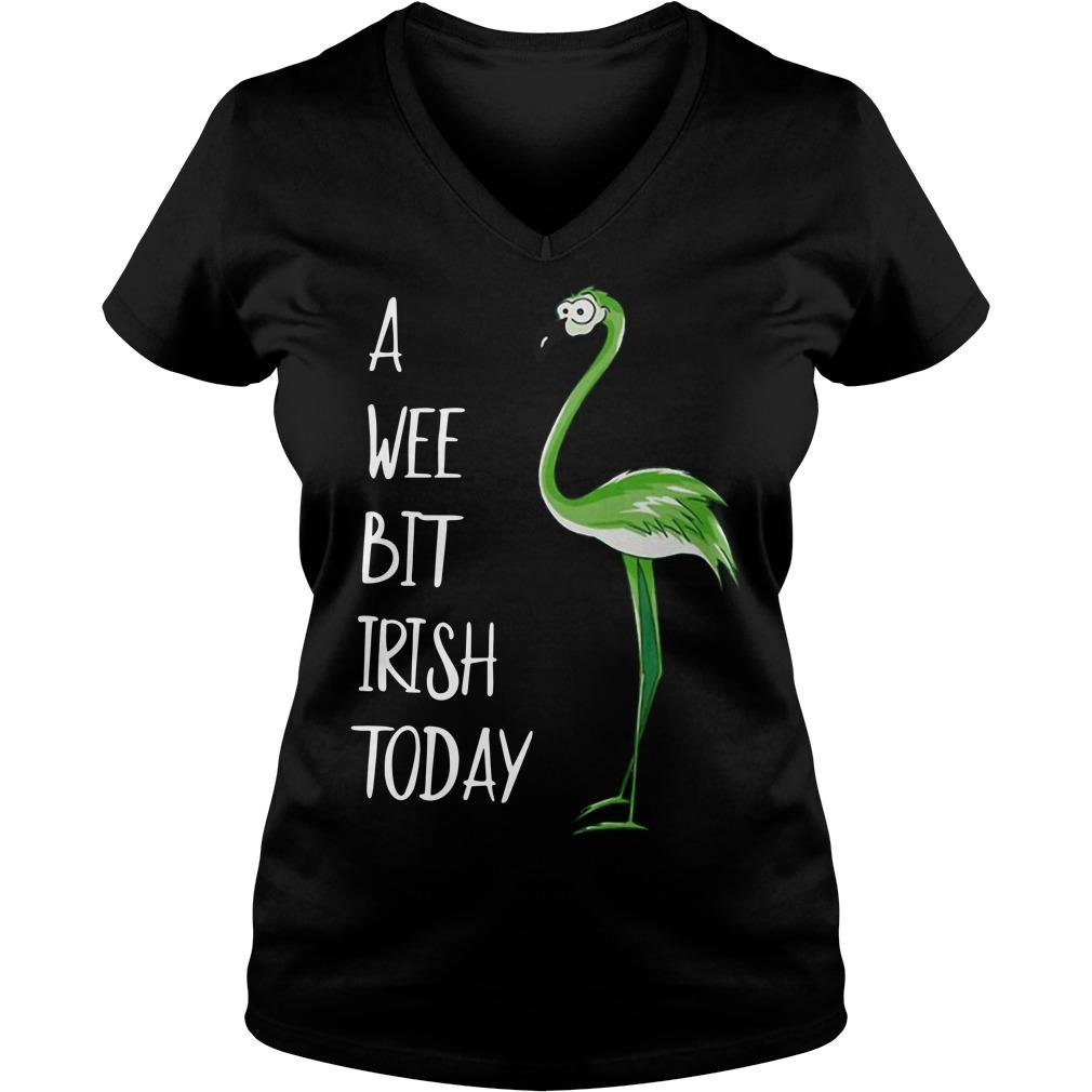 St Patrick's Day Flamingo a wee bit Irish V-neck T-shirt