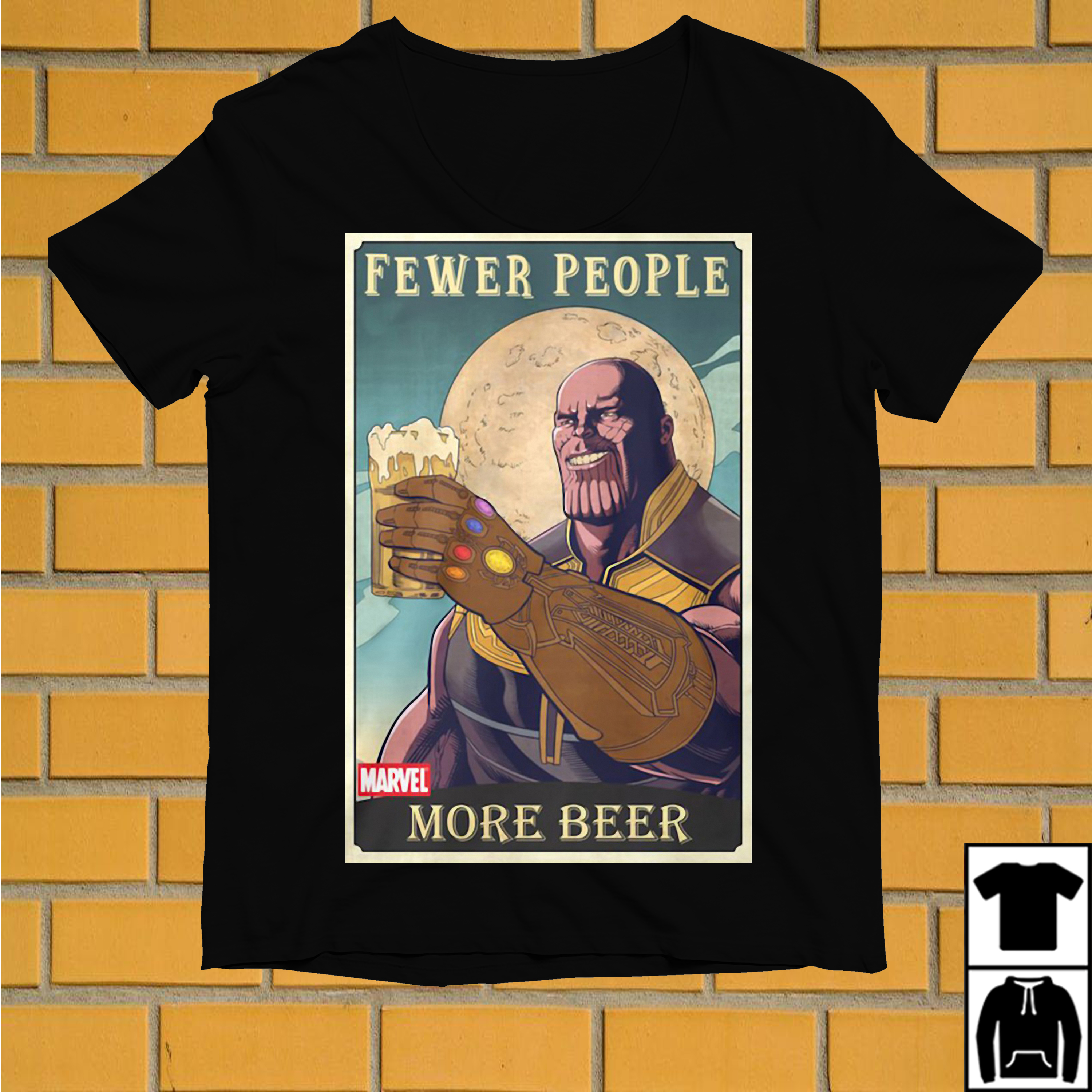 Thanos fewer people more beer shirt