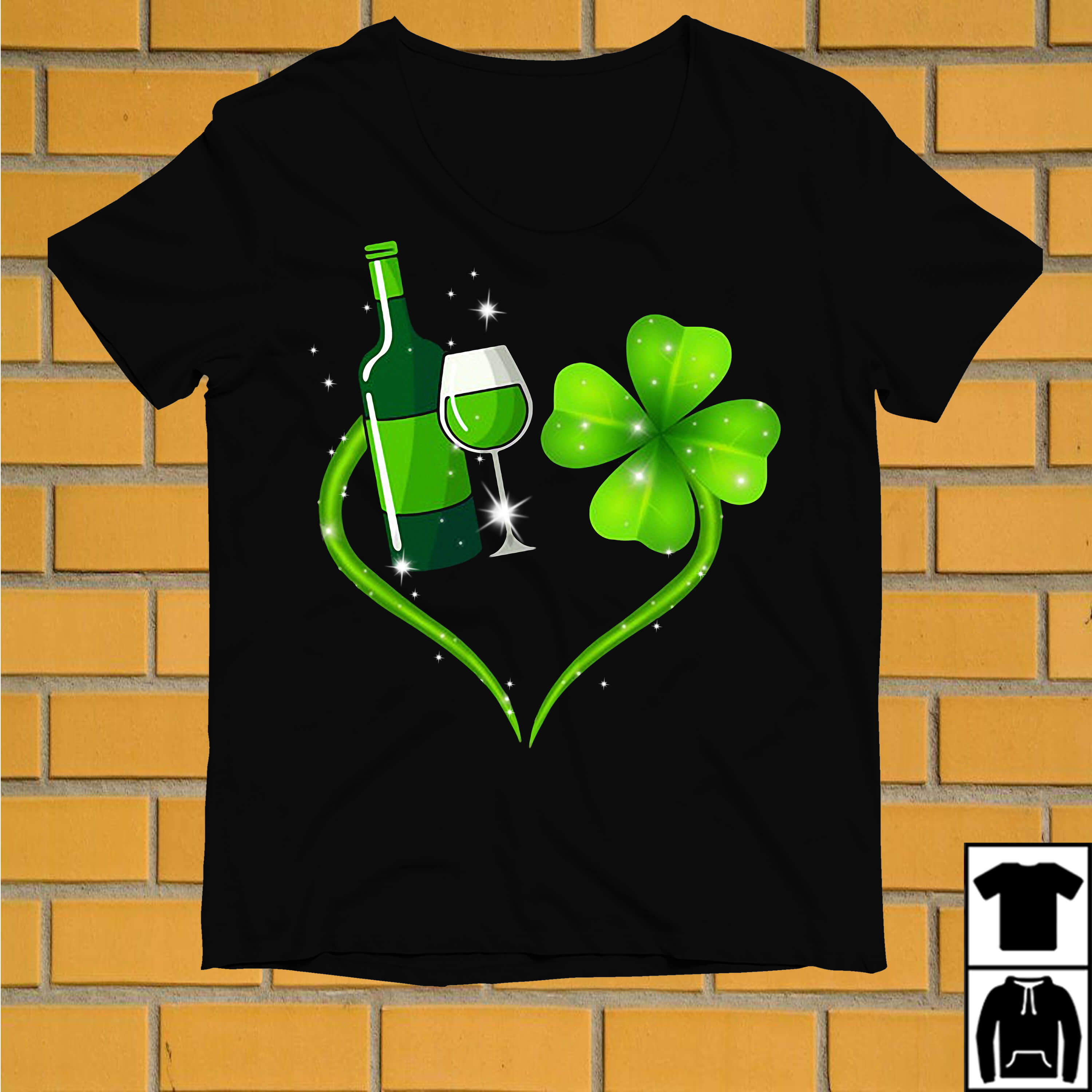 Wine and Shamrock love St Patrick's day shirt