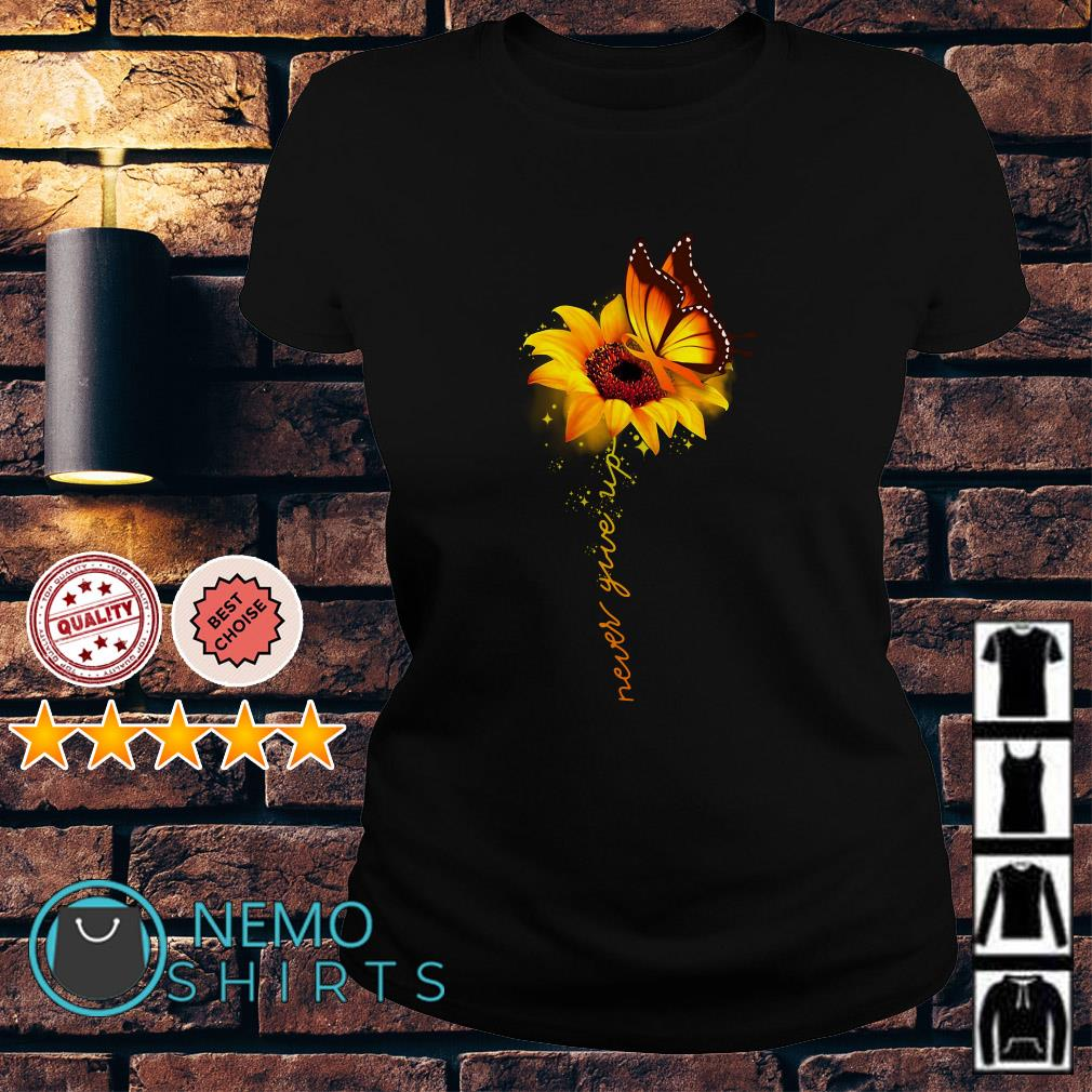 Awareness butterfly and sunflower never give up Ladies tee