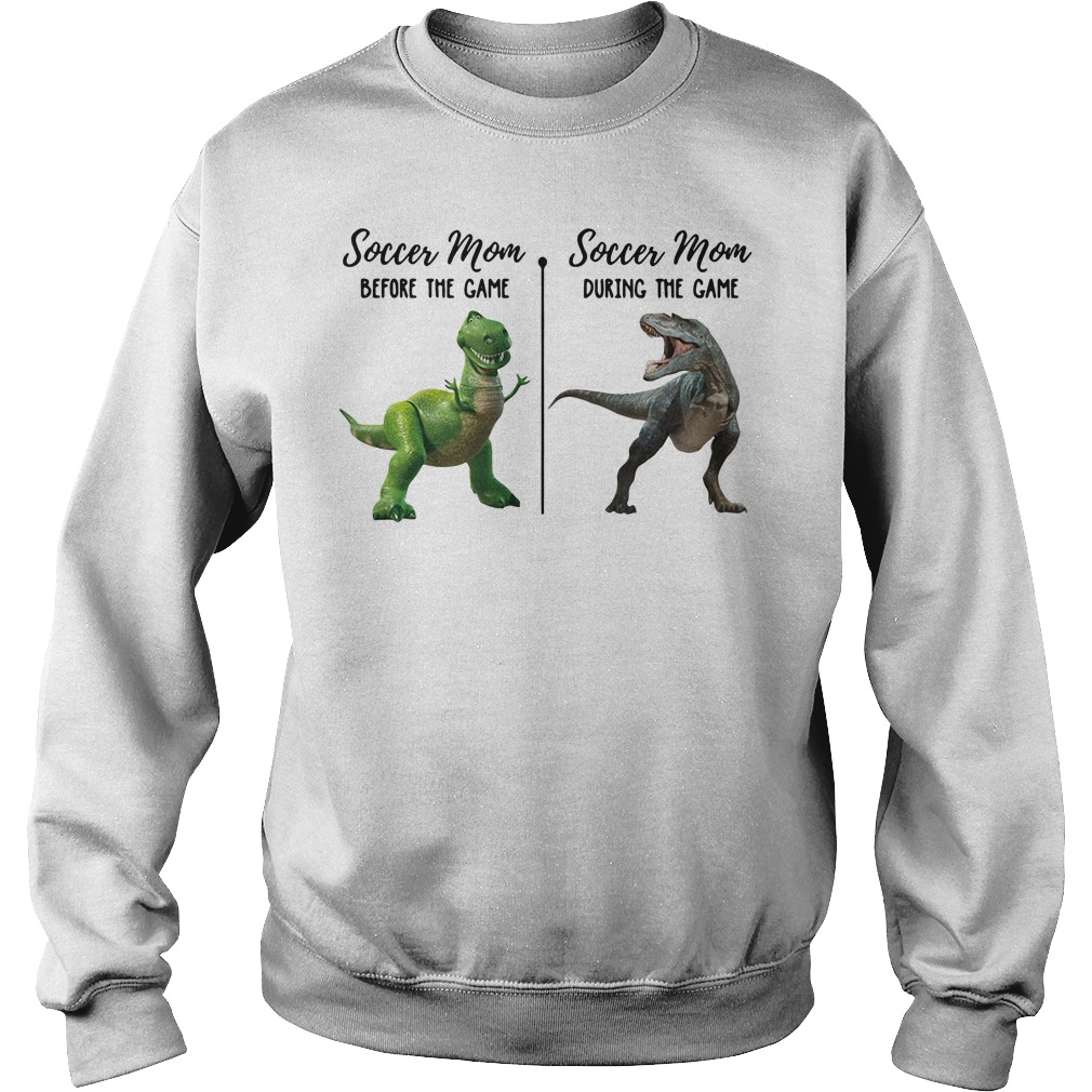 e5494d4d Dinosaur T-rex soccer mom before the game and soccer mom during the game  Sweater