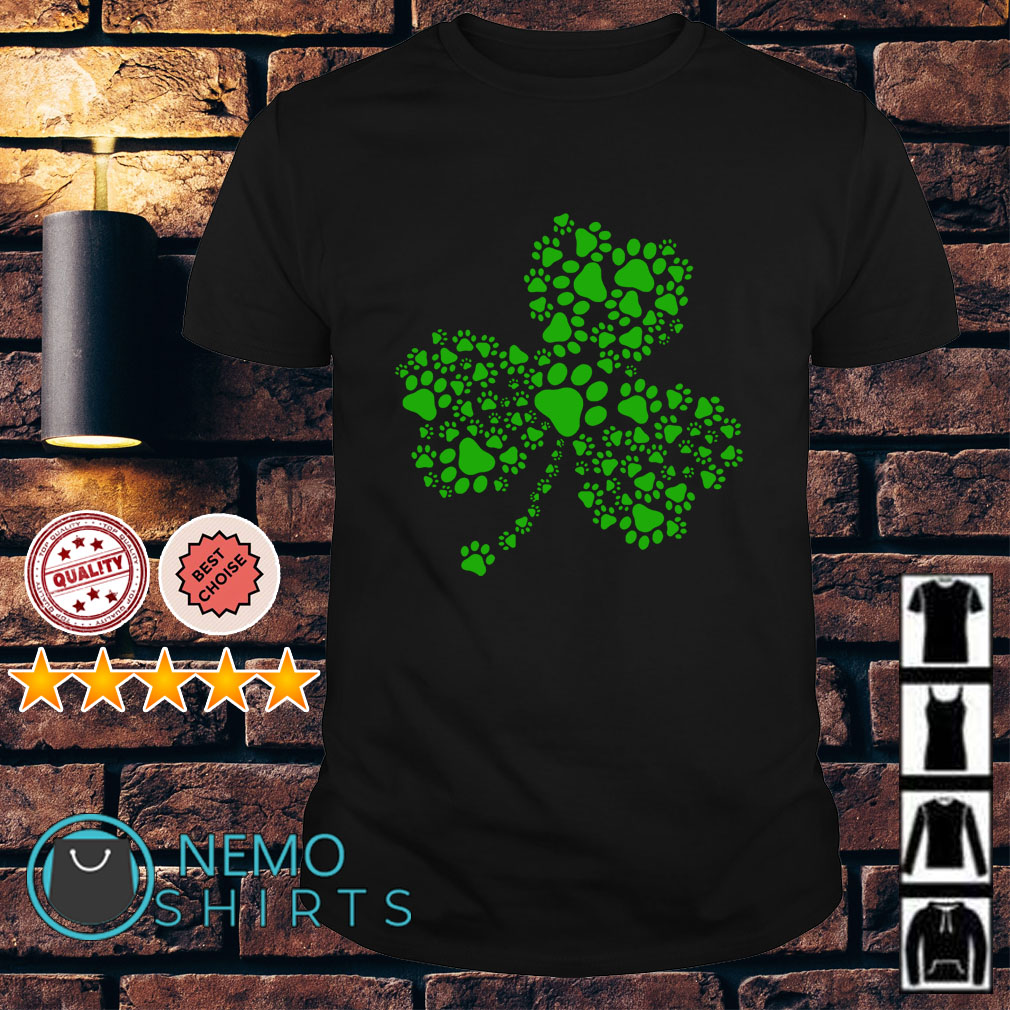 Dog Paw Shamrock St Patrick's day Guys shirt