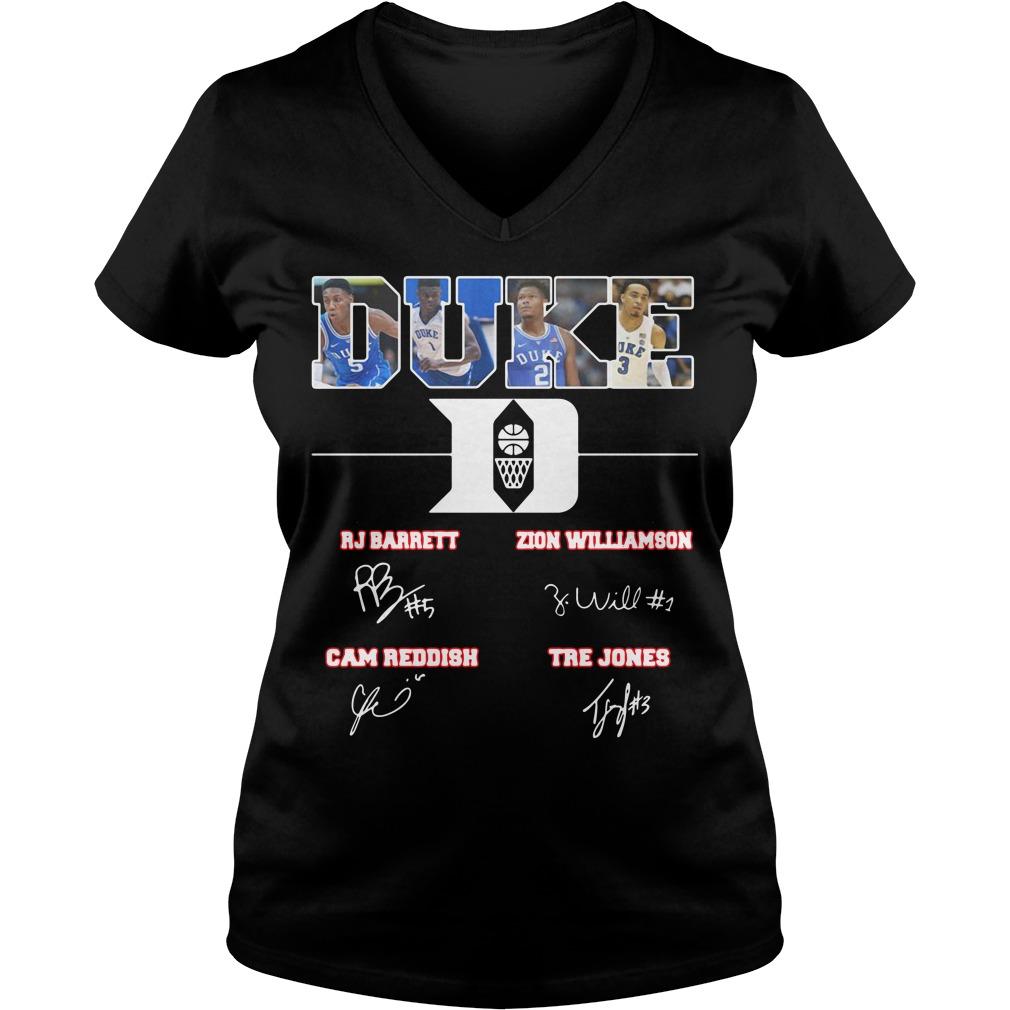 Duke Blue Devils RJ Barrett Zion Williamson Cam Reddish Tre Jones V-neck t-shirt