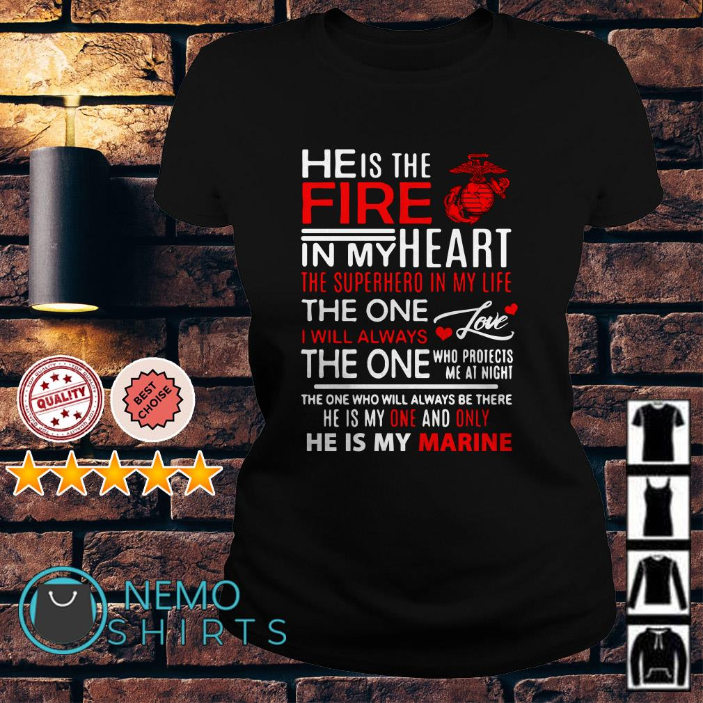 He is the fire in my heart the superhero in my life Ladies tee