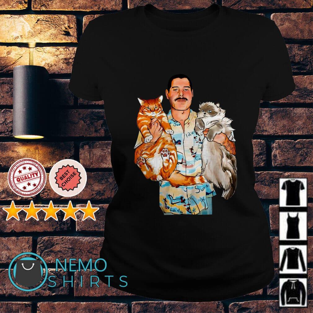 bff7952a5bb3c Sweater Freddie Mercury hug his cats Oscar and Tiffany Ladies tee