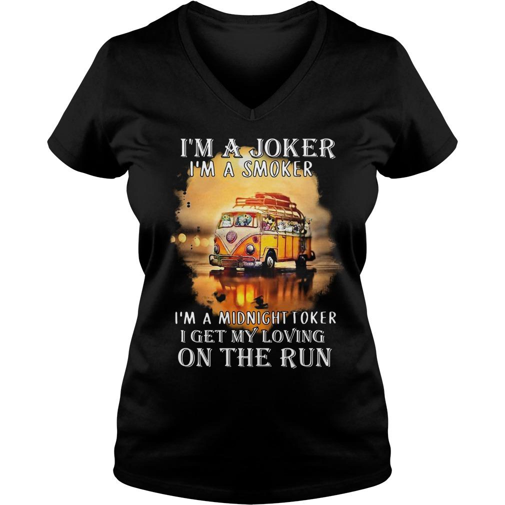 Hippie car I'm a joker I'm a smoker I'm a midnight toker I get my loving on the run V-neck T-shirt