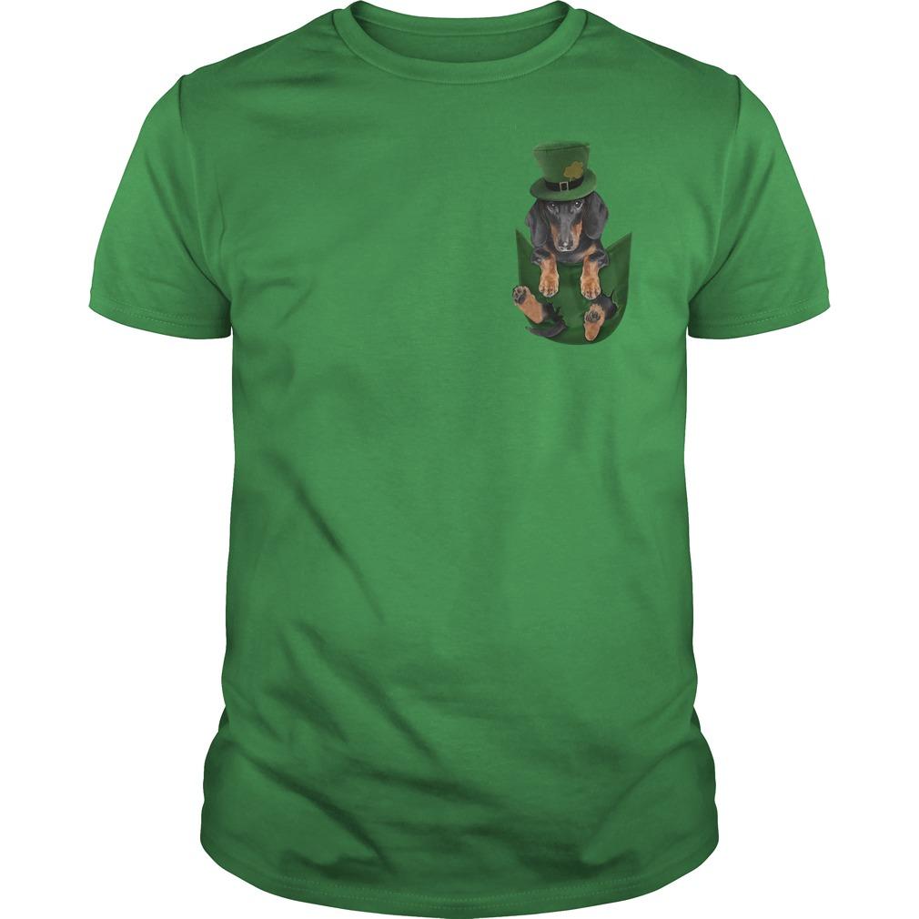 Irish Dachshund in a pocket St Patrick's day Guys Shirt