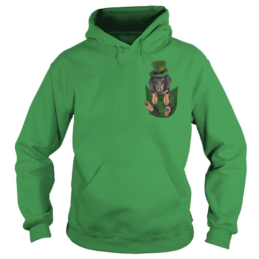 Irish Dachshund in a pocket St Patrick's day Hoodie