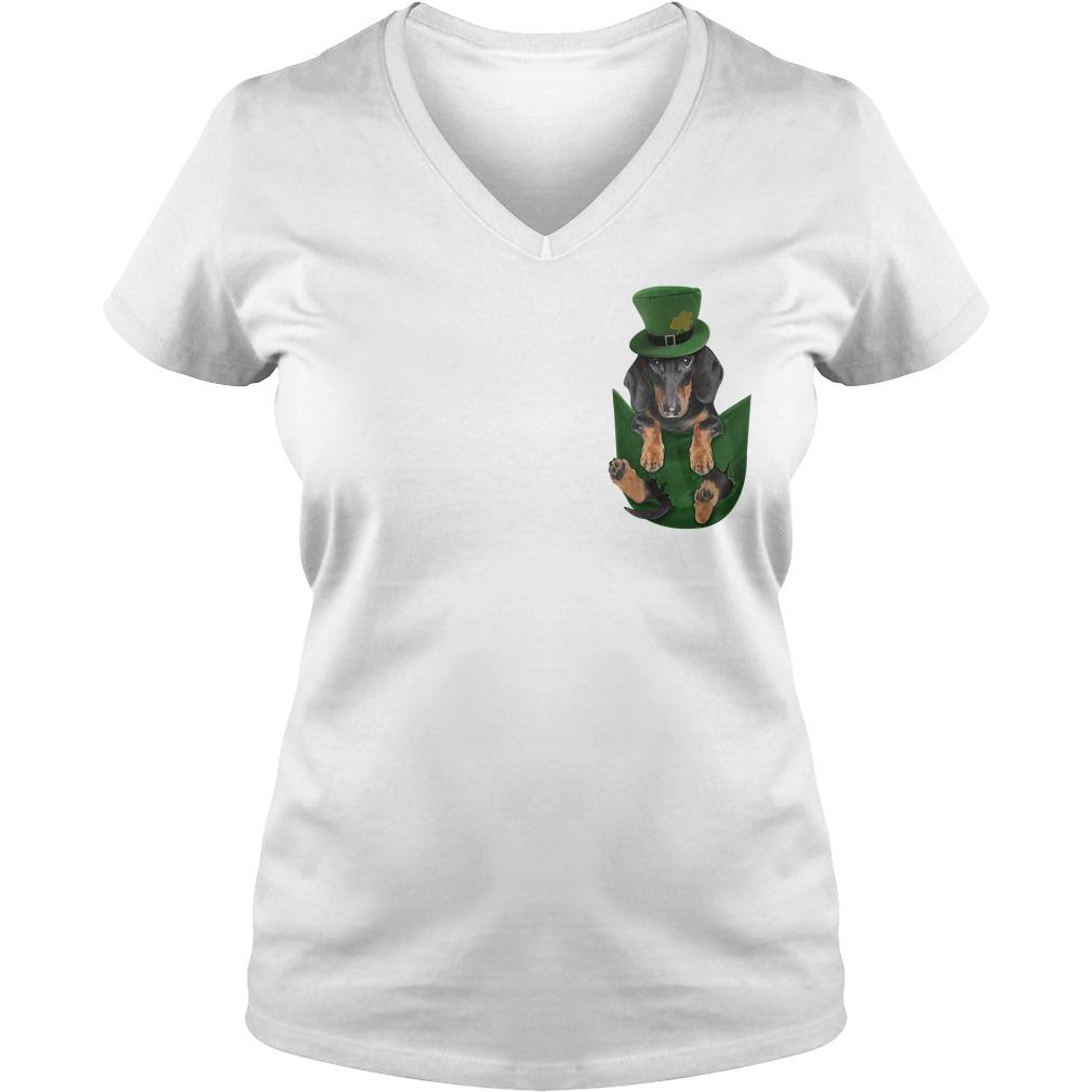 Irish Dachshund in a pocket St Patrick's day V-neck T-shirt