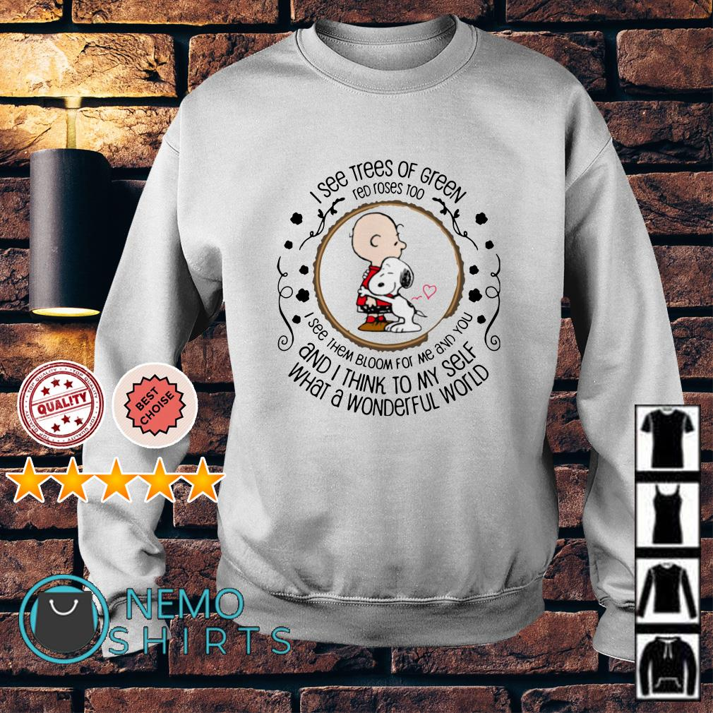 Snoopy and Peanut I see trees of green red roses too I see them Sweater