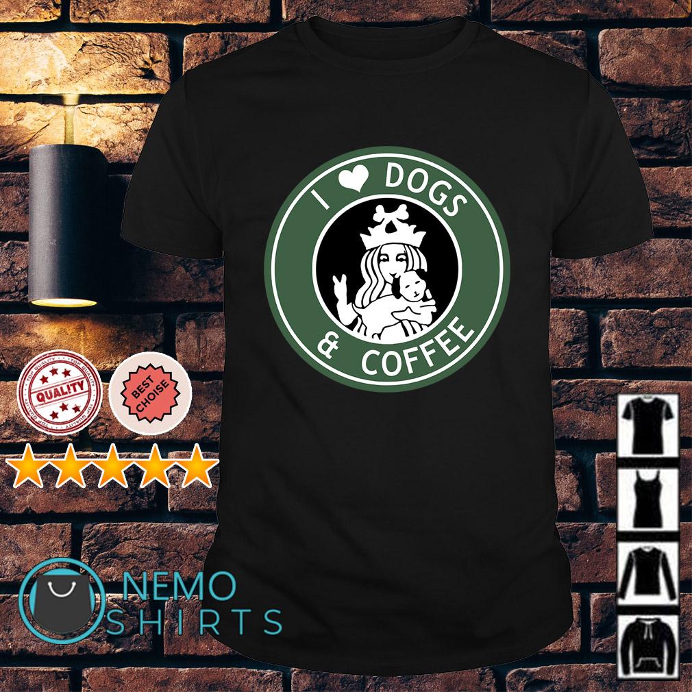 Starbucks Parody I love dogs and coffee shirt