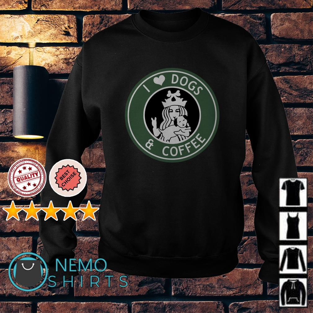 Starbucks Parody I love dogs and coffee Sweater