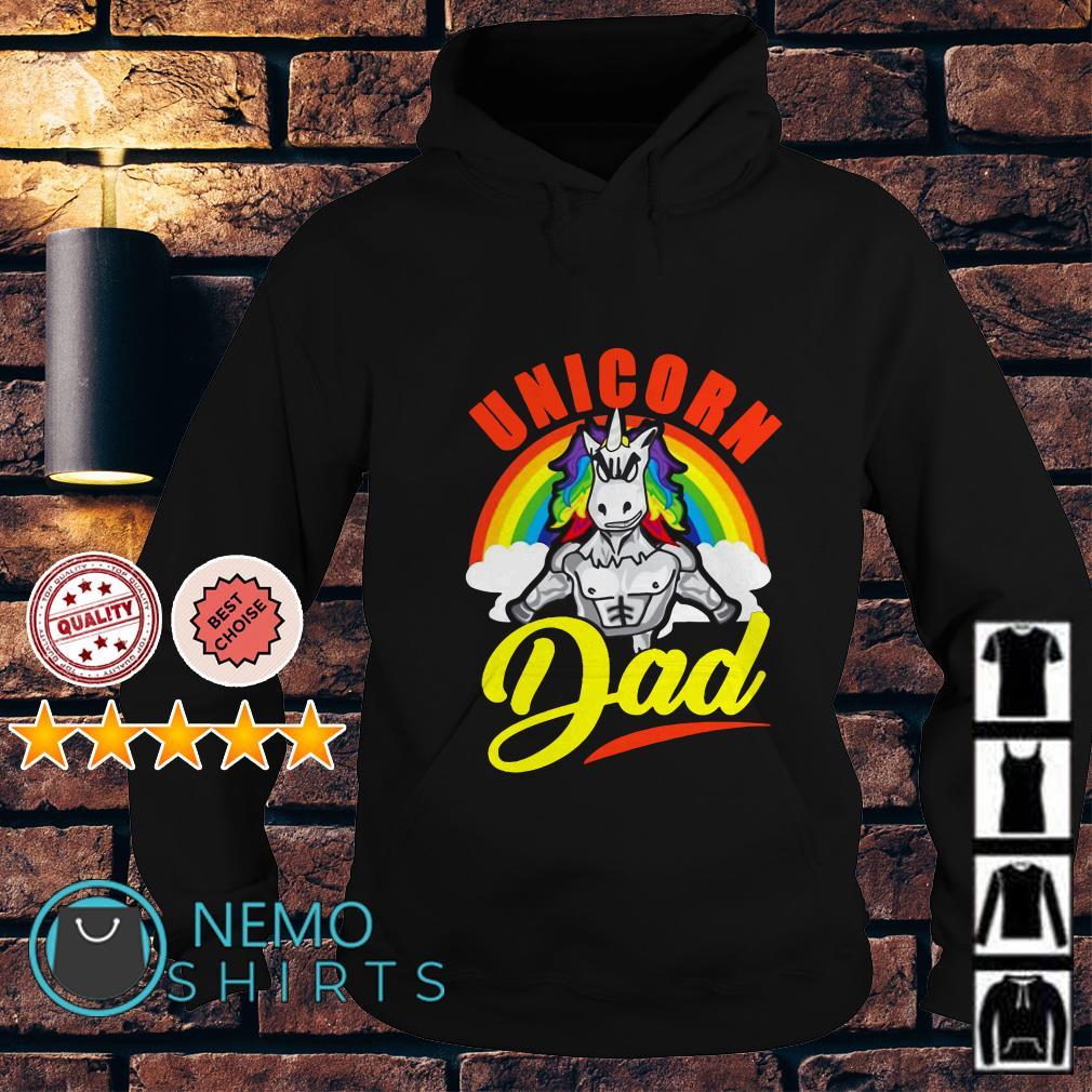 Unicorn Dad Rainbow muscles gym Hoodie