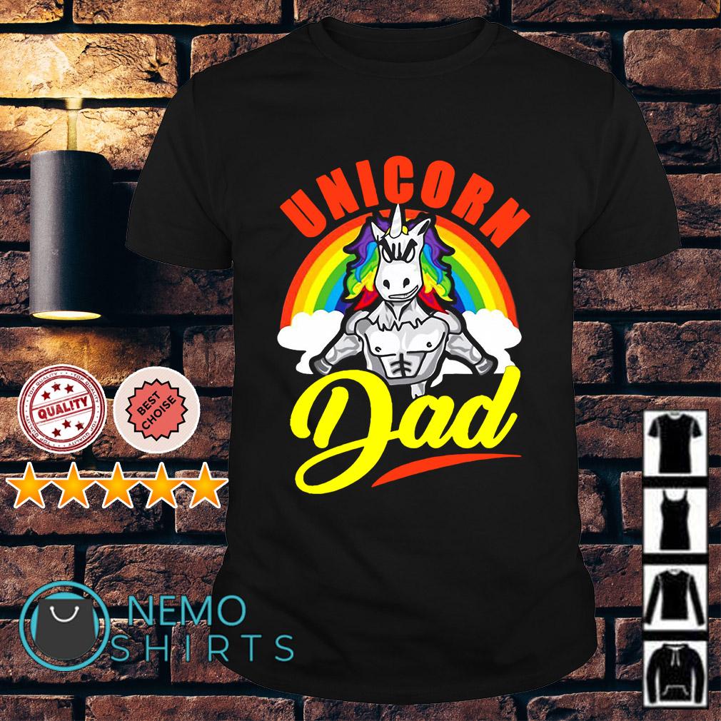 Unicorn Dad Rainbow muscles gym shirt