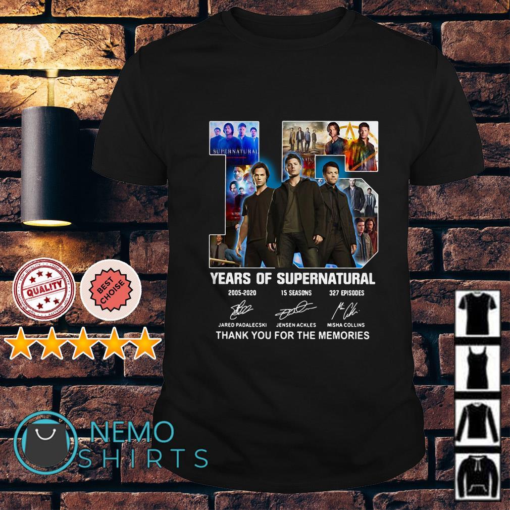 15 years of Supernatural 2005-2020 15 seasons 327 episodes shirt