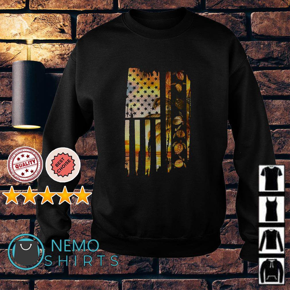 American Flag Turtles Lover Sunset Beach Vacation Sweater