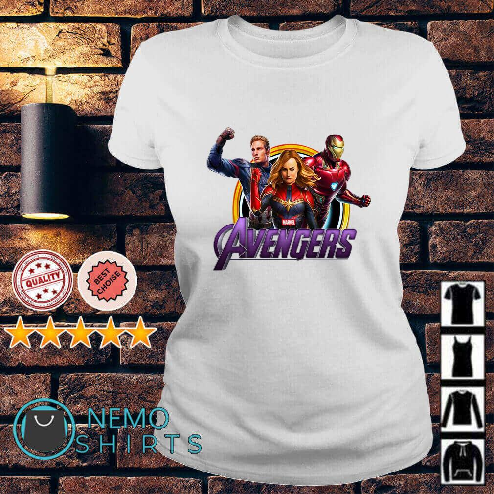 Avenger Endgame Captain Marvel Iron Man and Captain America Ladies tee
