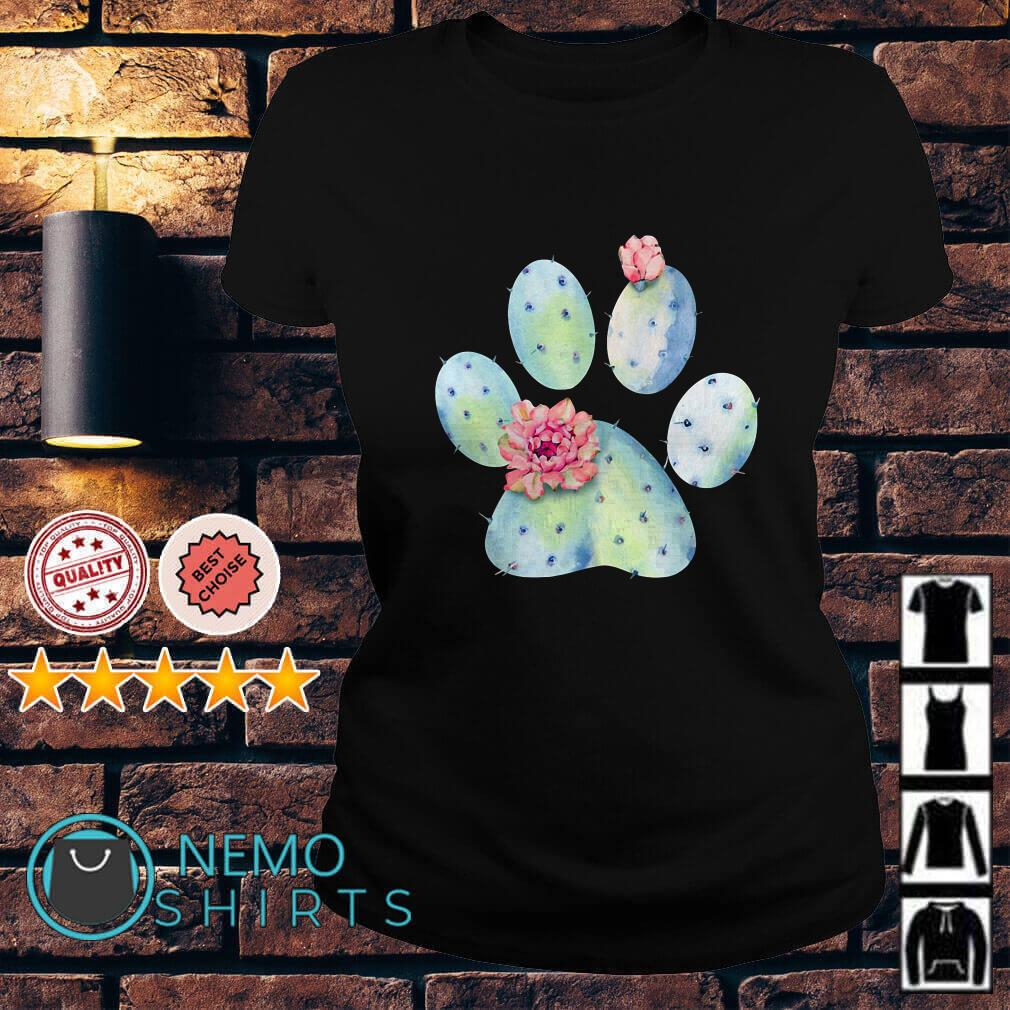 Dog paws cactus and flowers Ladies tee