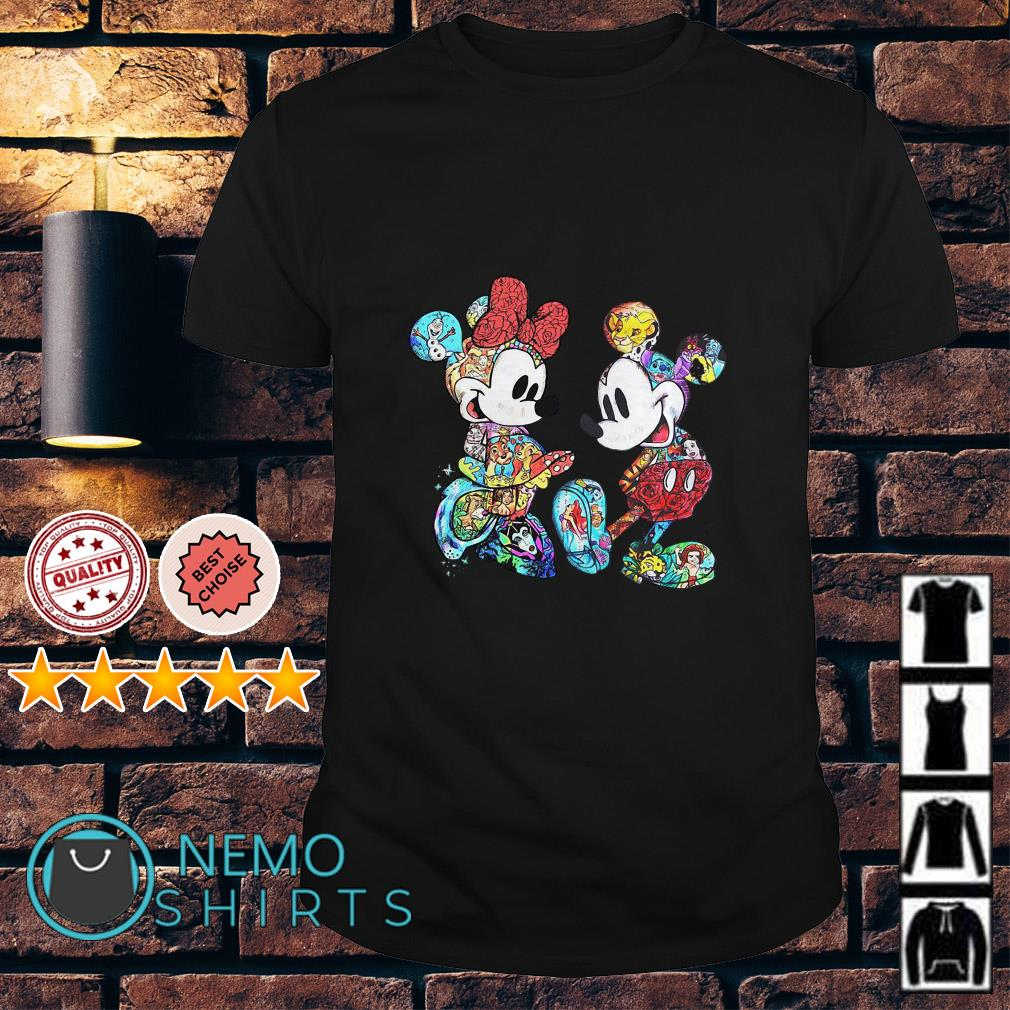 Mickey Mouse and Minnie Mouse with all Disney characters shirt