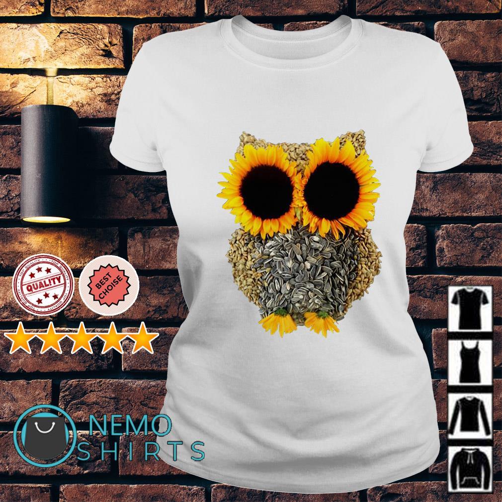 Owl Made Of Sunflower Seeds Ladies tee