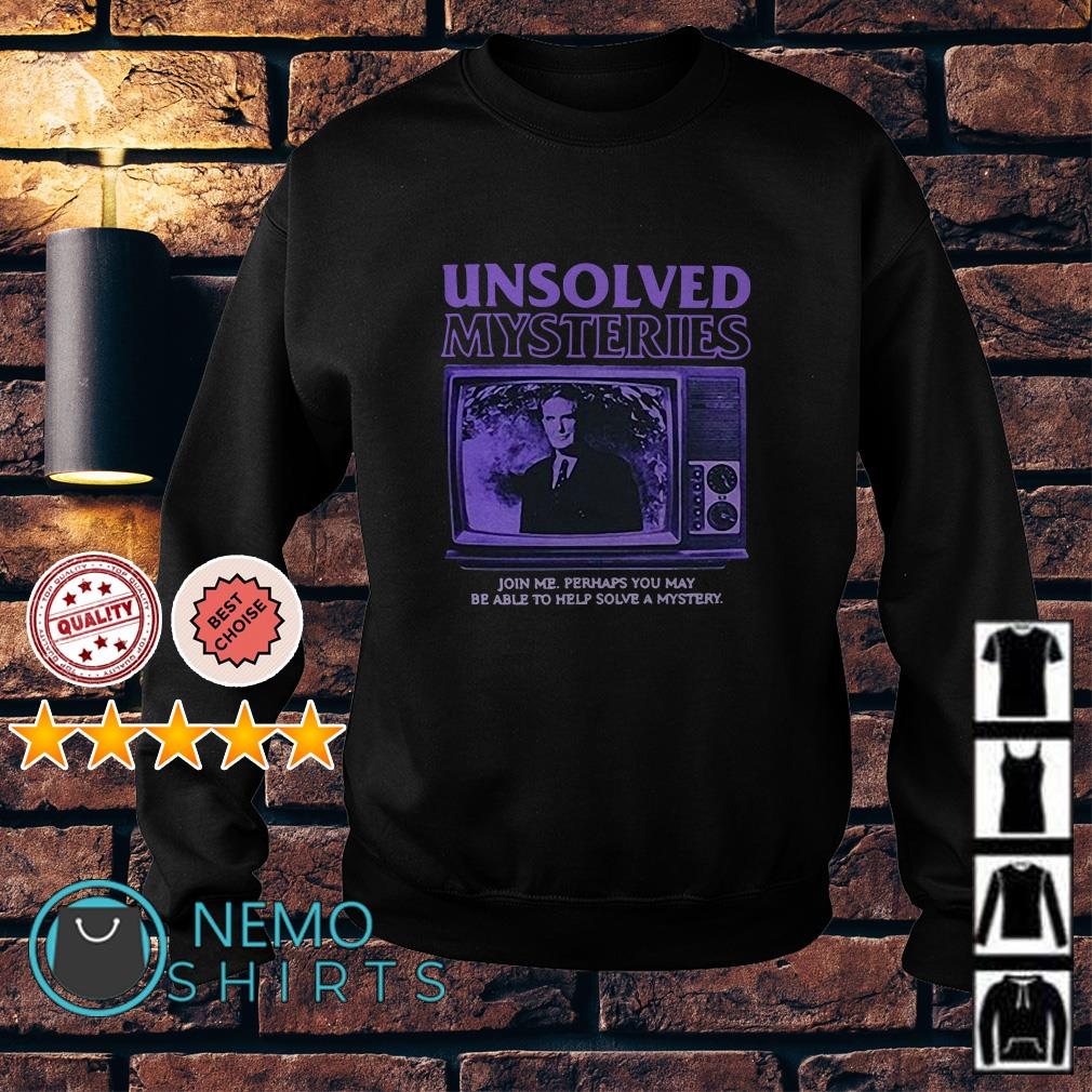 Robert Stack Unsolved mysteries john me perhaps you may be able Sweater