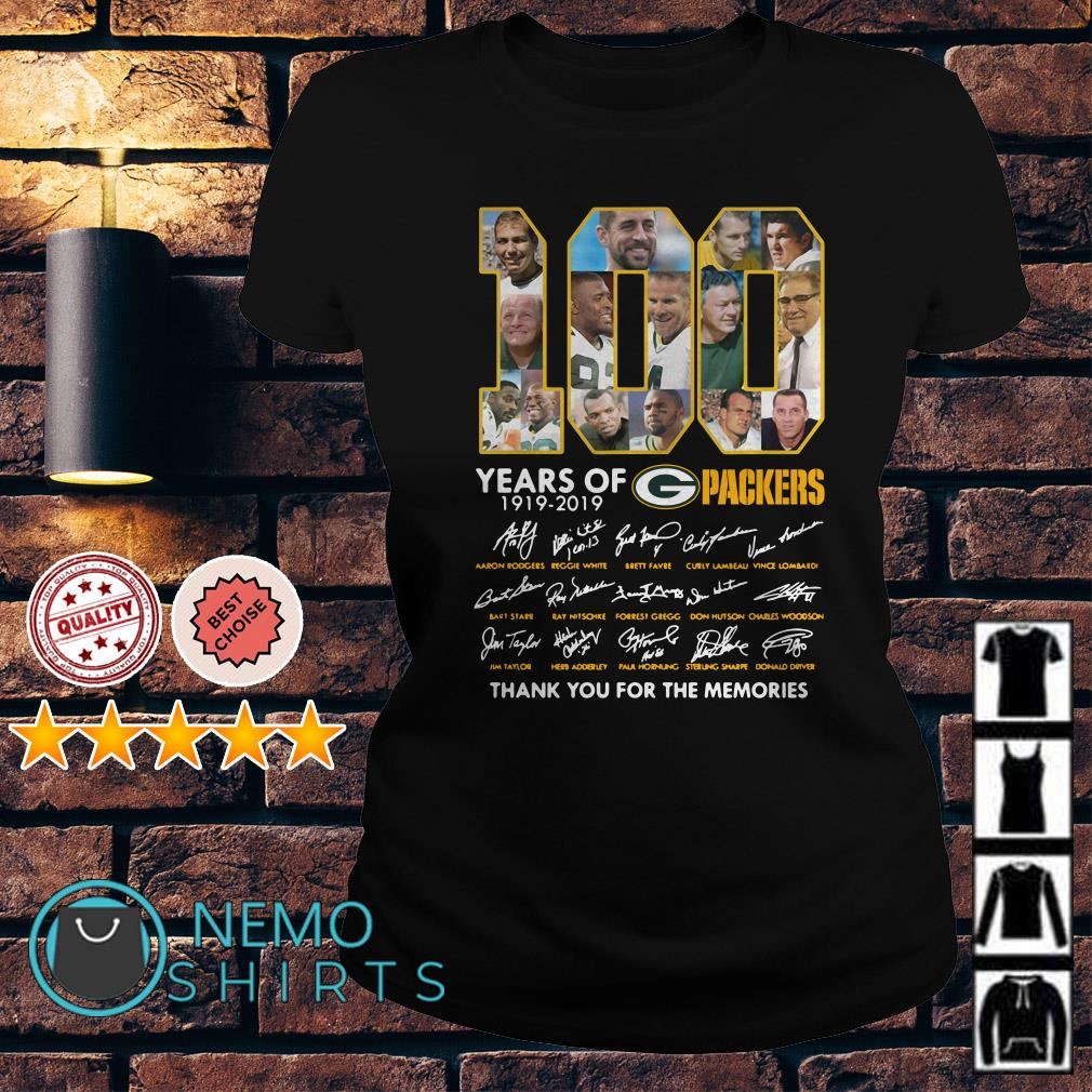 100 years of Packers thank you for the memories signature Ladies tee
