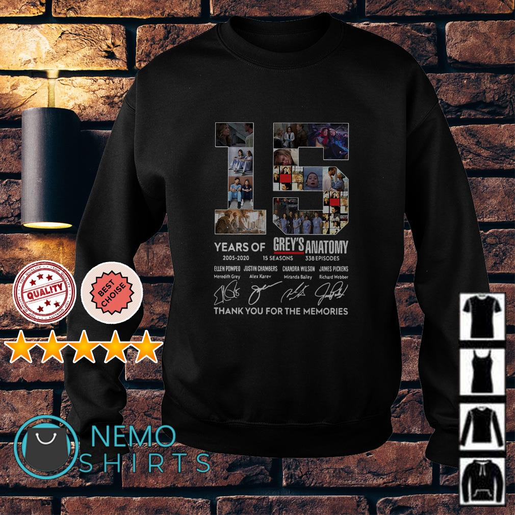 15 years of Grey's Anatomy thank you for the memories Sweater