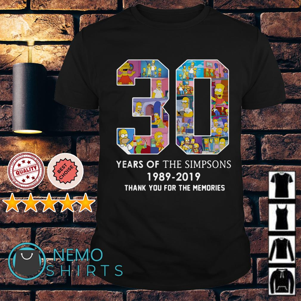 30 years of the Sinpsons 1989 2019 thank you for the memories shirt