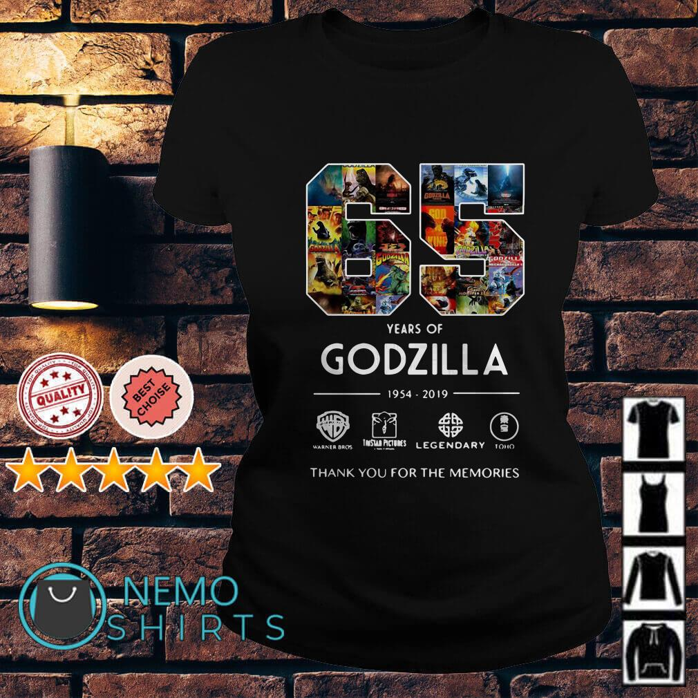 65 years of Godzilla 1954 2019 thank you for the memories Ladies Tee