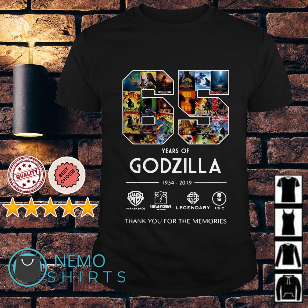 65 years of Godzilla 1954 2019 thank you for the memories shirt