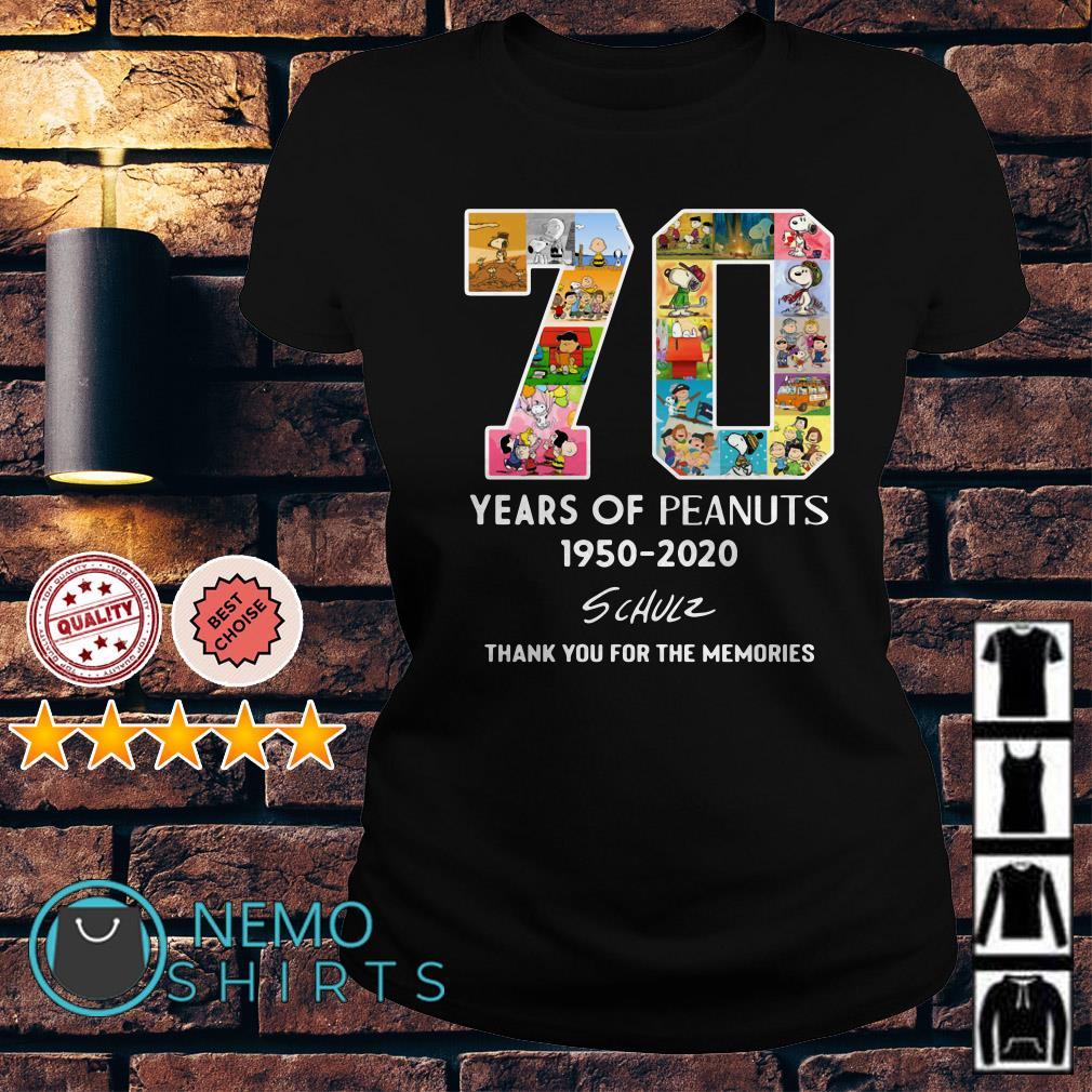 70 years of Peanuts 1950 2020 thank you for the memories Ladies Tee