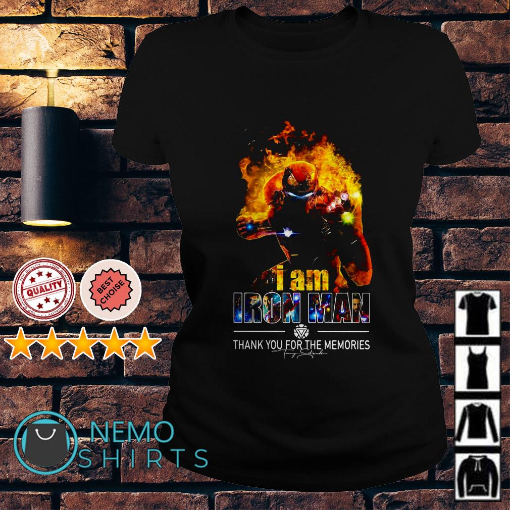 Avengers I am Iron Man thank you for the memories Ladies Tee