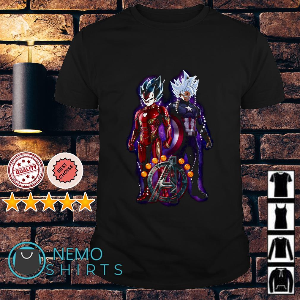 Avengers Son Goku Iron Man and Vegeta Captain America shirt