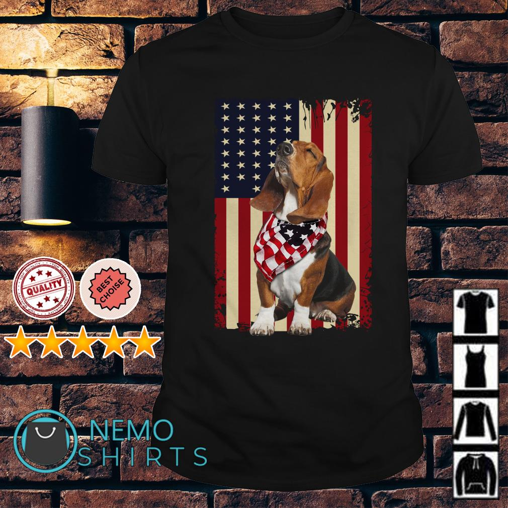 Basset Hound American flag Independence day shirt