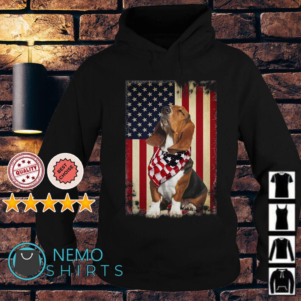 Basset Hound Independence Day American Flag Scarf Hoodie