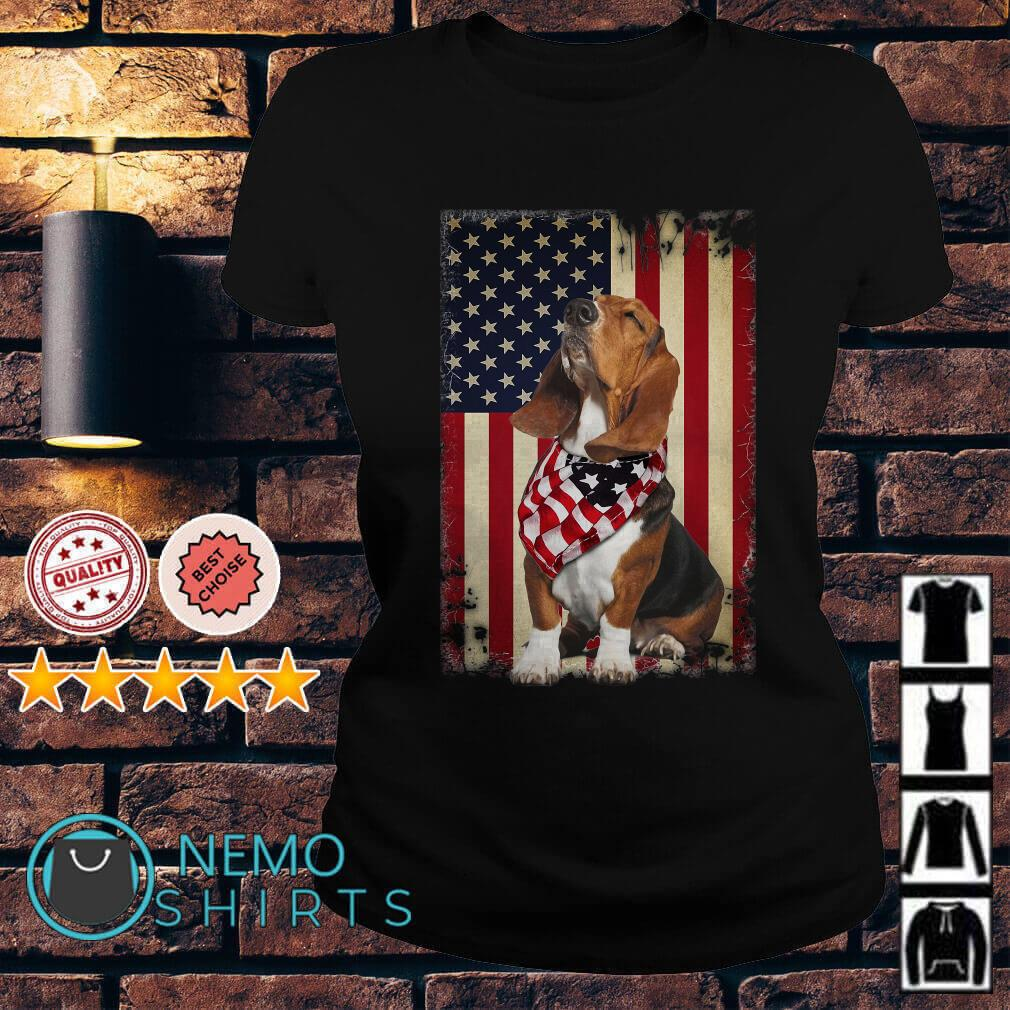 Basset Hound Independence Day American Flag Scarf Ladies tee