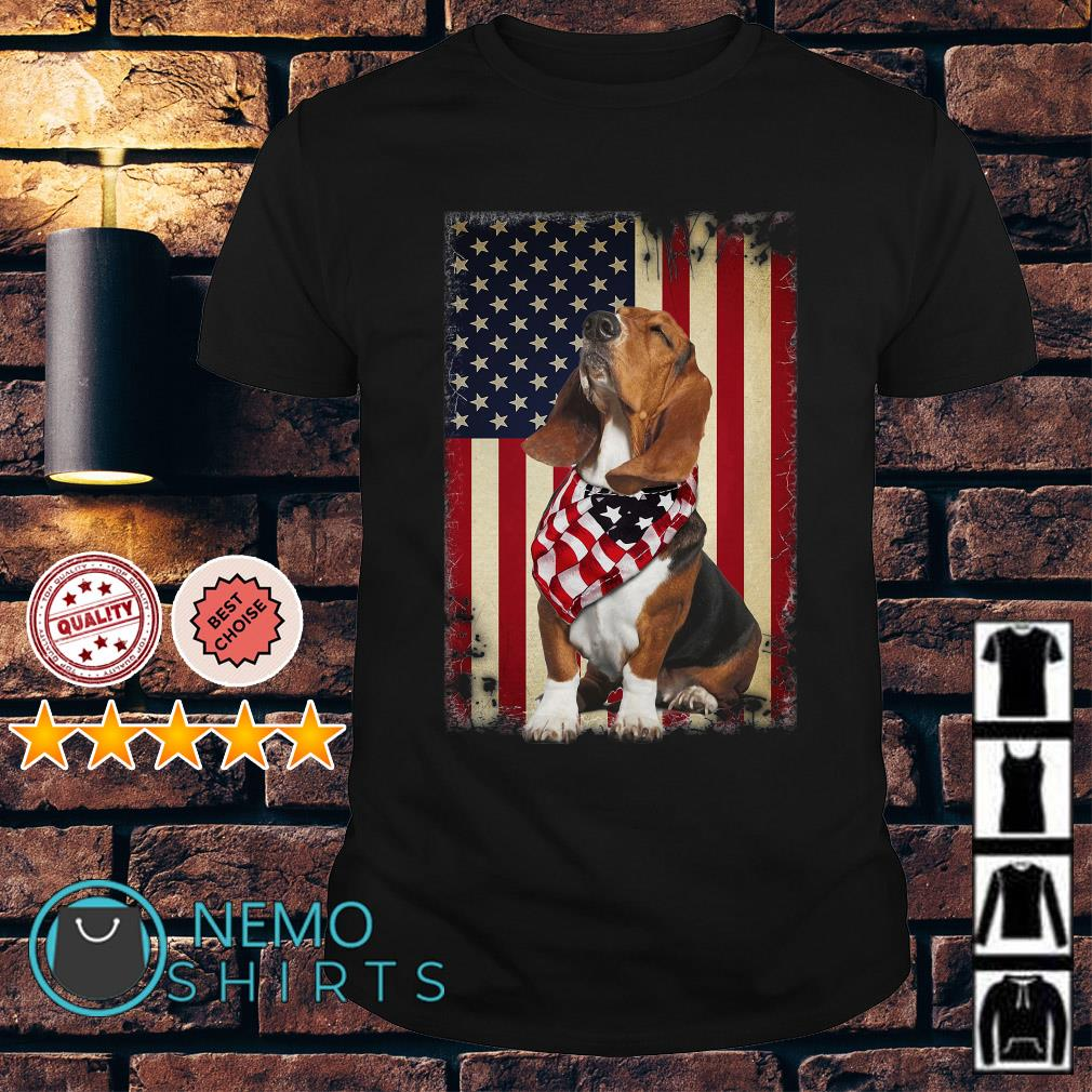 Basset Hound Independence Day American Flag Scarf shirt