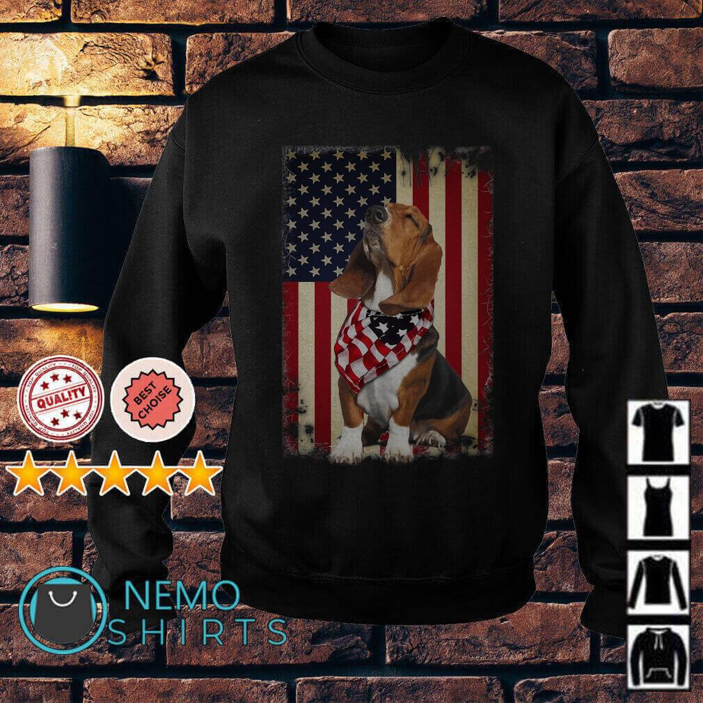 Basset Hound Independence Day American Flag Scarf Sweater