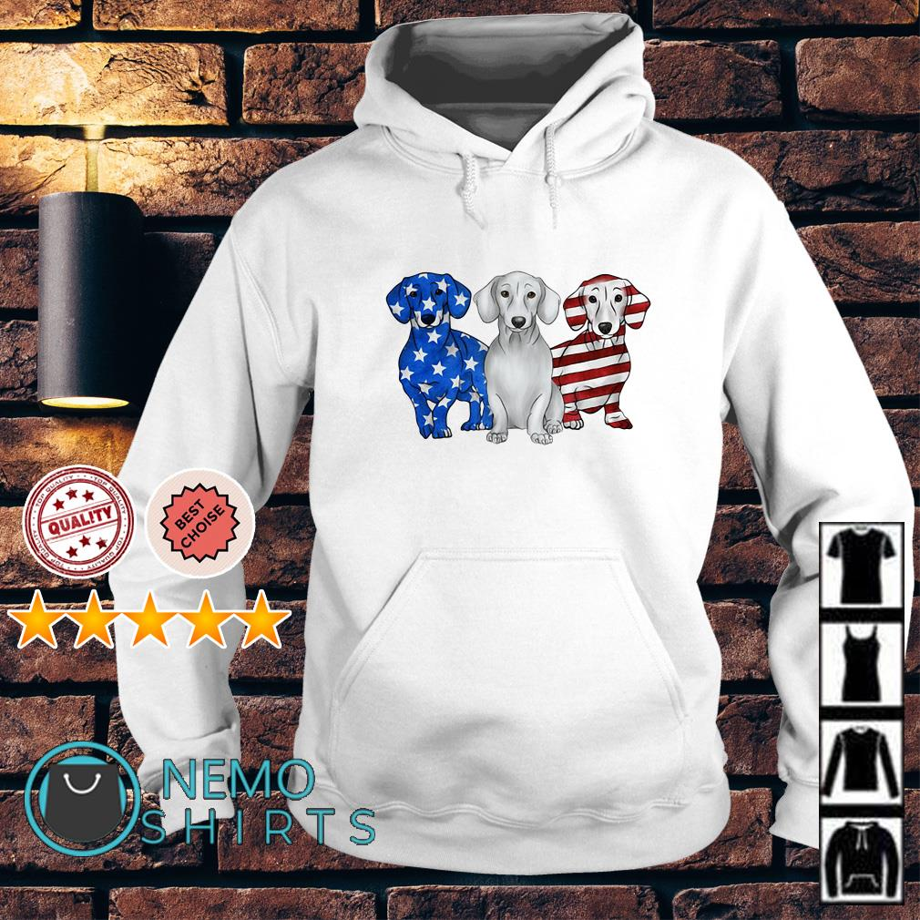 Dachshund Independence Day American flag Hoodie