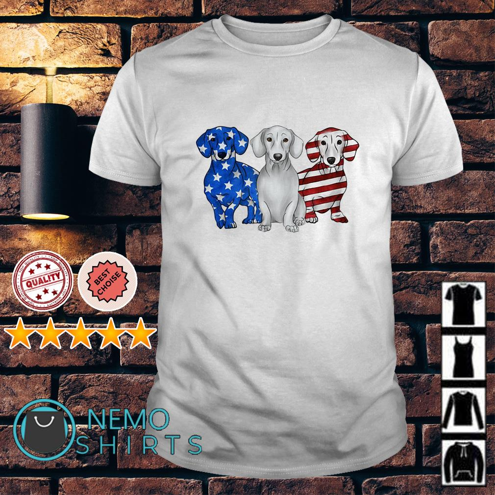 Dachshund Independence Day American flag shirt