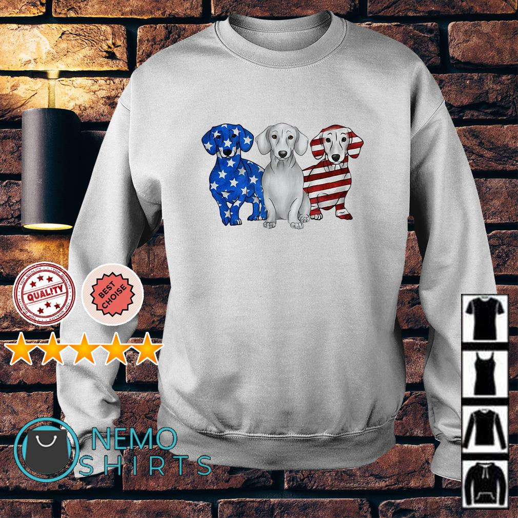 Dachshund Independence Day American flag Sweater