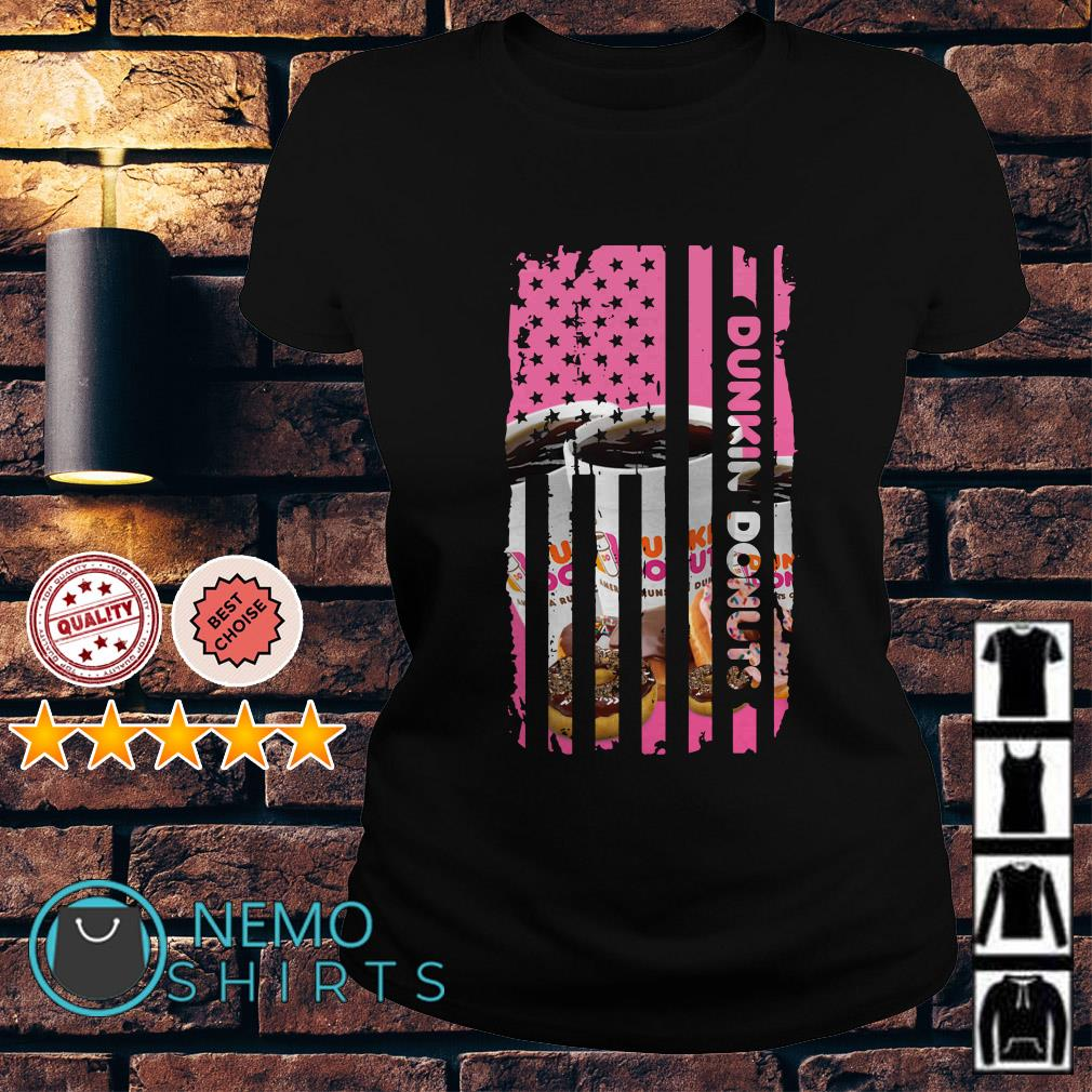 Dunkin Donuts America Flag Independence Day Ladies Tee