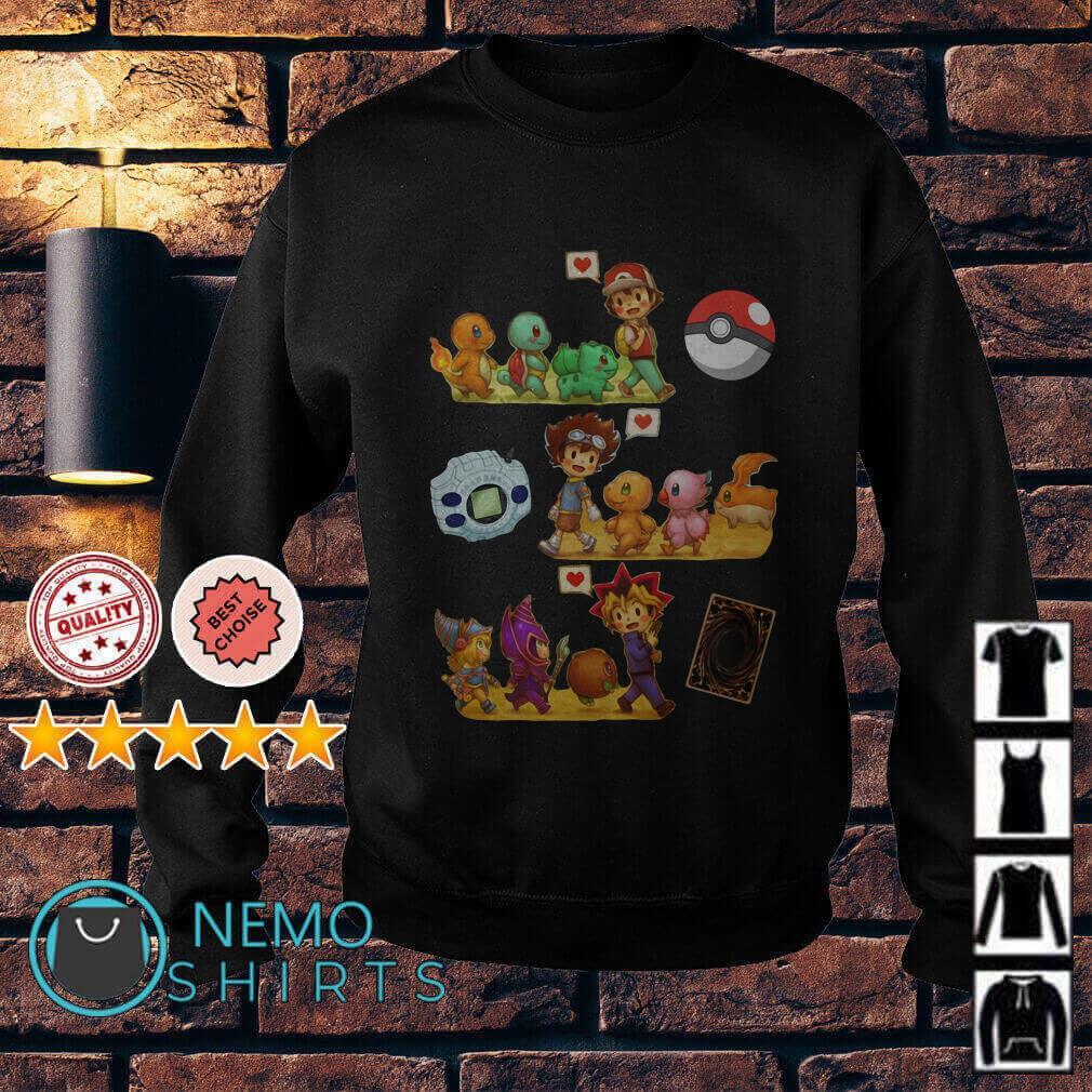 Friends Satoshi Pokemon Yagami Taichi Digimon Yugi Muto Yu-Gi-Oh Sweater
