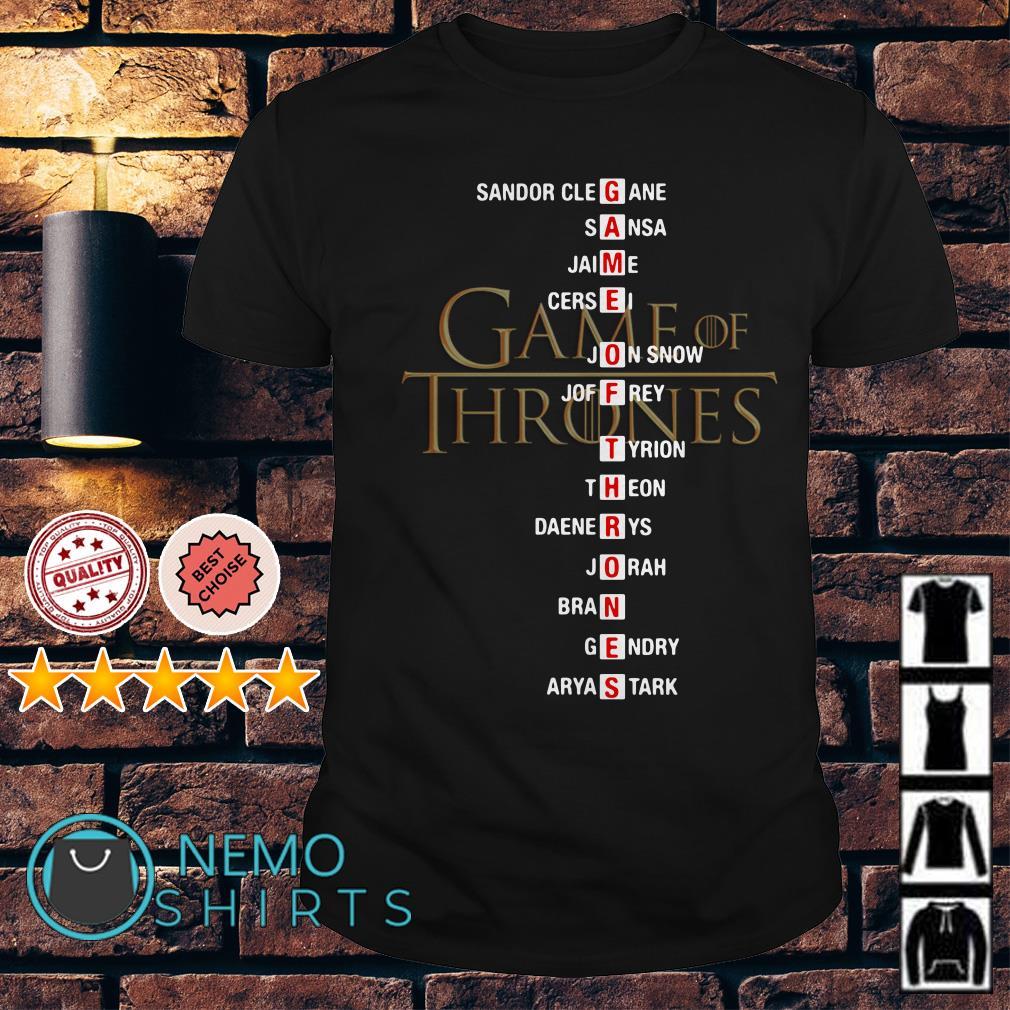 Game of Thrones Sandor Clegane Sansa Jaime Cersei Jon Snow shirt
