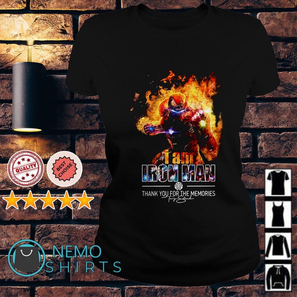 I am Iron Man thank you for the memories Ladies tee
