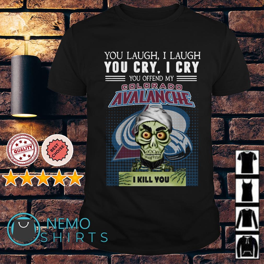 Jeff Dunham Puppet You laugh I laugh I cry Colorado Avalanche shirt