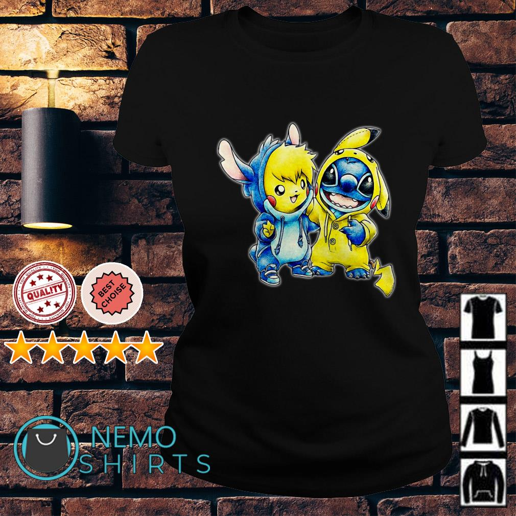 Stitch and Pikachu are best friends Ladies Tee