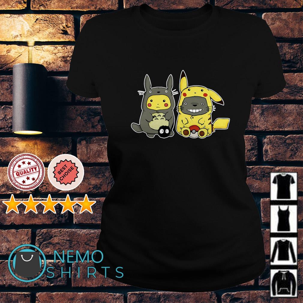 Totoro and Pikachu are best friends Ladies tee